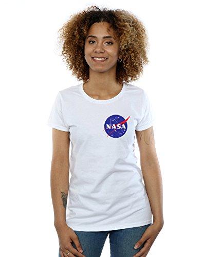 Nasa Mujer Classic Insignia Pocket Logo Camiseta Medium Blanco