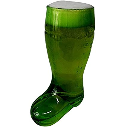 green beer boot glass