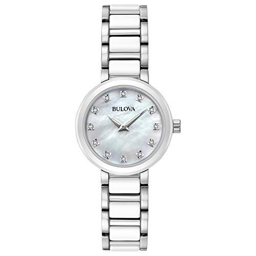 Bulova orologio al quarzo in acciaio INOX vestito da donna, colore: tonalità argentata (Model: 98P158)