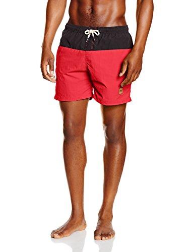 Block Swim Shorts Badehose von Urban Classics   - normale Passform  - elastischer Taillenbund mit Kordeln  - Seitentaschen  - Urban Classics Lederflicken auf dem linken Bein