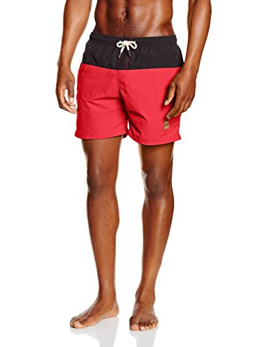 Urban Classics Block Swim Shorts, Costume da Bagno Uomo, Multicolore (Blk/Red 44), X-Large
