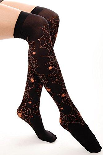 DRESS ME UP - Halloween Karneval Strümpfe Overknees schwarz rotes Spinnennetz Spinne Gothic Hexe Z169 (Varieté Kostüm Muster)
