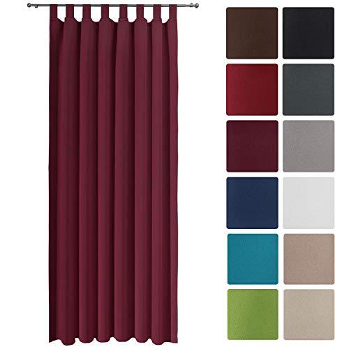 Beautissu Blackout-Vorhang Amelie BS mit Schlaufen - 140x245 cm Verdunklungsgardine Schlaufenschal Bordeaux-Weinrot & weitere Farben