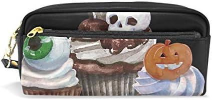 Trousse, Bennigiry Halloween tête de mort Cuir PU Grande capacité pour stylo Organiseur de bureau avec fermeture à glissière pour l'école et fournitures de bureau – 20 x 5,5 x 8,5 cm B07HF6RP83   Dernière Arrivée