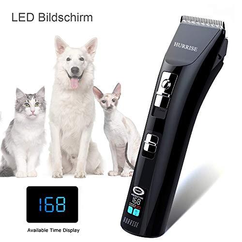 HURRISE Hunde Haarschneidemaschinen LCD Drahtlose Geräuscharmer Haustier Grooming Clipper Kits Schnellladung und Lange Ausdauer mit 6 Zubehörteilen für Hunde,Katzen,Hasen -