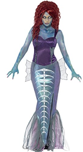 Zauberclown - Damen Karneval Halloween Kostüm Zombie Mermaid , Lila, Größe L