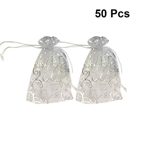 (WINOMO 50 Stück Kleine Organza Sheer Favor Geschenk Taschen Mini Silber Rattan Muster Schmuck Beutel Wrap Organza Kordelzug Taschen für Hochzeit Weihnachten)
