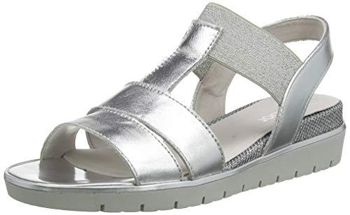 Gabor Shoes Damen Casual Riemchensandalen, Mehrfarbig (Silber 61), 38 EU