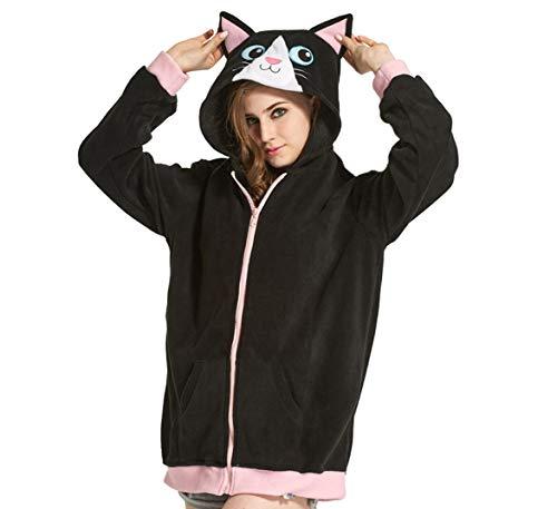 Kostüm Kartons Mit - ULEEMARK Tier Kapuzenpullover Karton Cospaly Hoodie Jacke mit Reißverschluss Sweatshirt Pullover Fasching Karneval Halloween Kostüm Unisex, Katze
