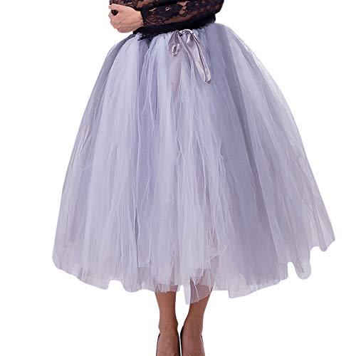 Andouy Damen Tutu Rock Tüll Petticoat Dance Organza Kostüm Dress-up Maxi Midi Rock Größe 36-50(36-50,Grau) -