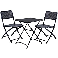 DOMI 3 pezzi pieghevole Garden Bistro Chair & Table Set Rattan Wicker Effetto Outdoor & uso interno