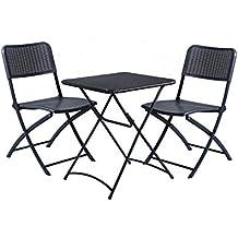 DOMI 3-Piece Folding Garden Bistro Chair & Table Set Rattan Wicker Effect Outdoor & Indoor Use