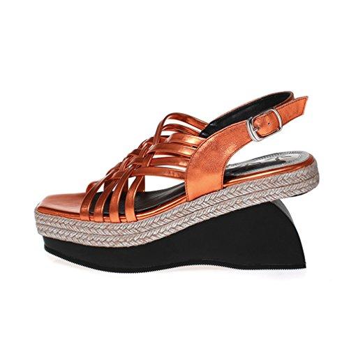 ENMAYER Femmes Sequins Glitter Lapsus Boucle Carré Toe Chaussures Sandales à Manches Longues Champagne
