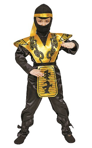 Ninja Kostüm Golden - Dress Up America Deluxe Ninja Kinderkostüm Set