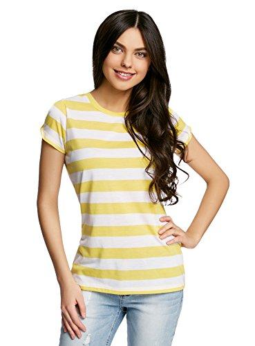 oodji Ultra Donna T-Shirt Dritta con Spacchi su Maniche Giallo (5210S)