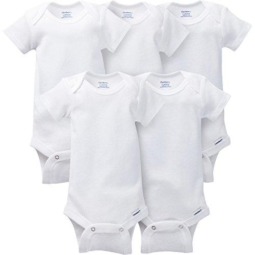 Gerber 5-Pack Onesies Brand One Piece Underwear - White, 0-3 Months -