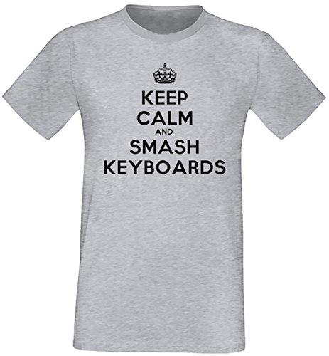 Keep Calm And Smash Keyboards Uomo T-shirt Grigio Cotone Girocollo Maniche Corte Grey Men's T-shirt
