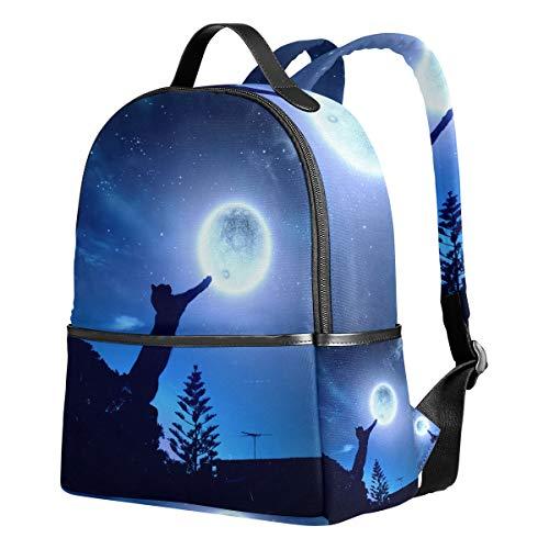 Tenboya Schulrucksack, Schwarze Katze im springenden Mond, Galaxie, Studenten-Rucksack für Mädchen, süße Schultasche -