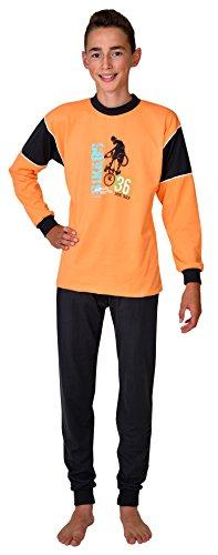 Preisvergleich Produktbild 2 tlg. Kinder Schlafanzug Pyjama Kinderschlafanzug Short Track Farbe: Maracuja orange, 100 % Baumwolle Größe 116 - 176 Größe 176