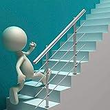 Treppengeländer Edelstahl Handlauf Geländer Balkongeländer für Treppe Brüstung 80cm, mit 2 Pfosten, 4 Querstreben