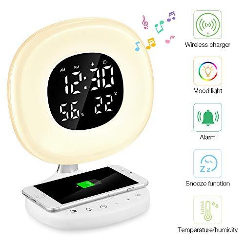 Reloj Despertador Digital de Luz, PAVLIT Despertador Luz con Cargador Inalámbrico Qi,Control Táctil,7 Colores Luz y 8 Sonidos, Despertador de Amanecer y atardecer, Función Snooze (Blanco-2)