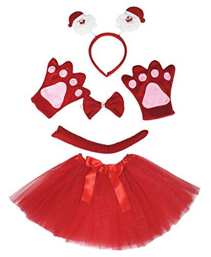 petitebelle Santa Claus Kostüm Stirnband Schleife Schwanz Handschuhe rot Tutu-Set Lady Gr. One Size, (Kostüme Damen Claus Santa)