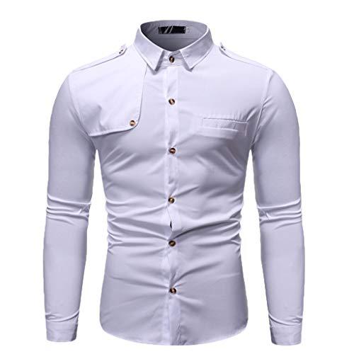 DNOQN Herren Hemden Langarm Achselshirt Herbst Winter Lässige Umlegekragen Knopf Solide Langarm Top Bluse Weiß XXL