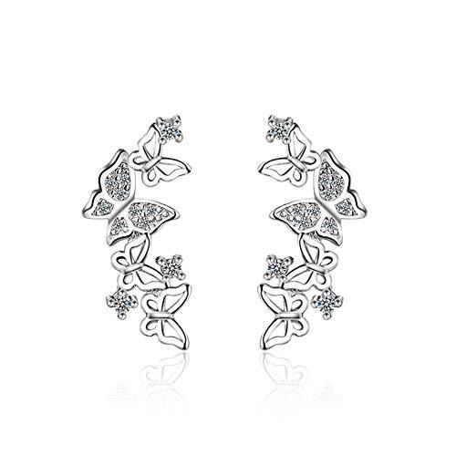 Dreamy Damen Zirkonia Creolen Pearl Kristall Ohrringe 925 Sterling Silber Hoop Ohrringe (ED384D)