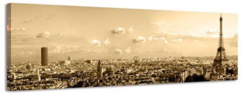 Panorámica Lienzo París ciudad Sepia lienzo pared arte Lienzo imagen