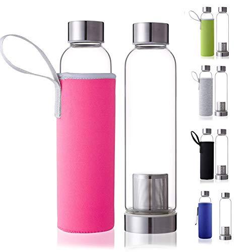 Dosige Trinkflasche aus Glas Sport Glasflasche Wasser-Flasche mit Edelstahl Filter-Einsatz und Nylon Thermo Hülle Bruchsicher 550ml Rosa - Wasser Filter Flasche