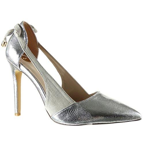 Angkorly-damen-Schuhe-Pumpe-Stiletto-Offen-Dekollete-Schlangenhaut-glnzende-String-Tanga-Stiletto-high-heel-10-CM-Silber-R222-1-T-38