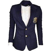2368c980e7e27 Ralph Lauren Blazer côtelé Bleu Marine et doré pour Femme