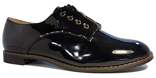 Schlicht-elegante Halbschuhe in Lederoptik, schwarz, dunkelblau, braun oder weiß, Schnürschuhe, Mokassins, Ballarinas, Damenschuhe, Modell 11094108001025, Schuh für Damen in topmodischem Look. Schwarze Hochglanz Lackschuhe.