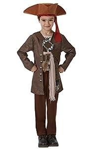 Piratas del Caribe - Disfraz de Jack Sparrow para niños, infantil 5-6 años (Rubie