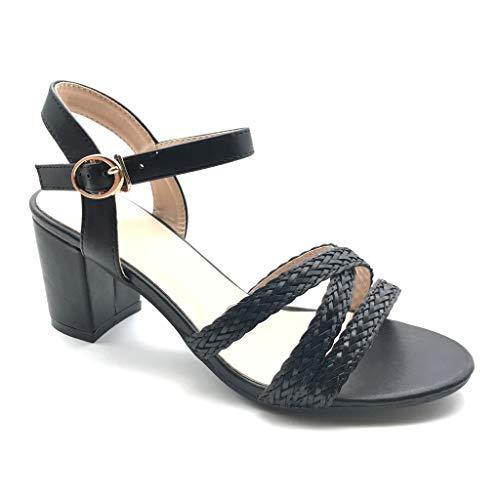 Angkorly - Damen Schuhe Sandalen Pumpe - kleine Fersen - Plateauschuhe - Offen - Multi-Zaum - Geflochten Blockabsatz high Heel 7.5 cm - Schwarz FC-59 T 41