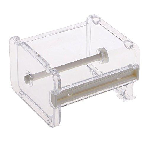 MagiDeal Transparent Klebeabroller Klebefilm Abroller Tischabroller Klebefilmabroller für Klebeband Washi Tape - Weiß