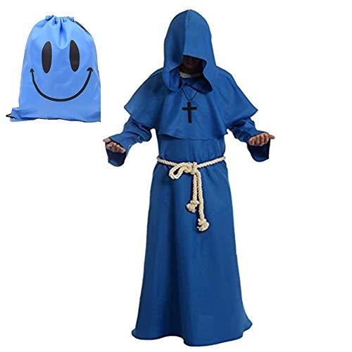 Brown Kostüm Hooded Robe - Mönch Robe Kostüm Mönch Priester Gewand Kostüm mit Kapuze Mittelalterliche Kapuze Herren Mönchskutte (XX-Large, Blau)