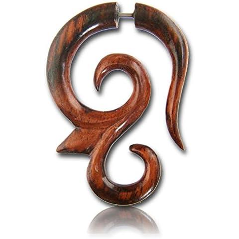 Chic-Net Fake Madera Piercing punta gancho espiral Narra Madera Plug oído de acero inoxidable sin níquel enchufe Orgánica