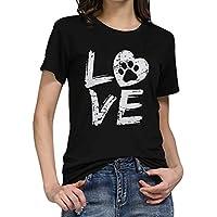 Yvelands Liquidación Moda Mujer Suelta de Manga Corta Camiseta de la Letra del O-Cuello Ocasional Superior