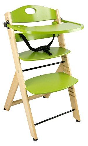 Seggiolone Per Bambini Per Bèbè Della Sedia Vassoio Solida e Stabile Legno Regolabile Per Neonati Fin Alla Nascita Altezza Naturale Verde Green