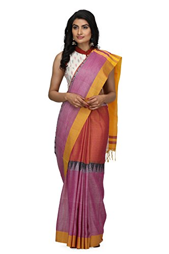 The Weave Traveller Handloom Women's Hand Woven Cotton Saree with Attached Blouse