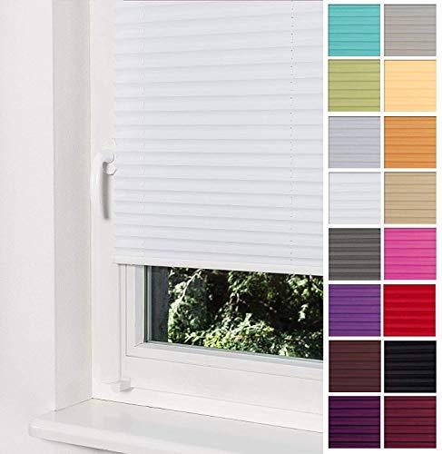 Home-Vision Premium Plissee Faltrollo ohne Bohren mit Klemmträger / -fix (Weiß, B95cm x H200cm) Blickdicht Sonnenschutz Jalousie für Fenster & Tür