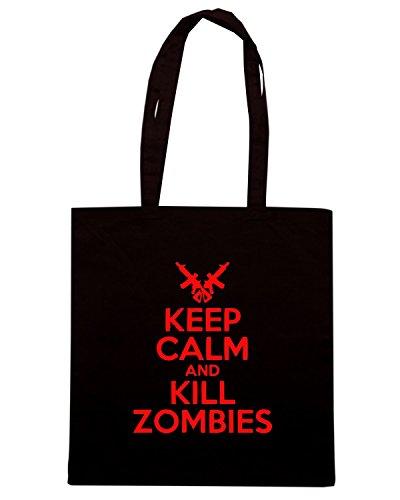 T-Shirtshock - Borsa Shopping TZOM0043 keep calm and kill zombies white Nero