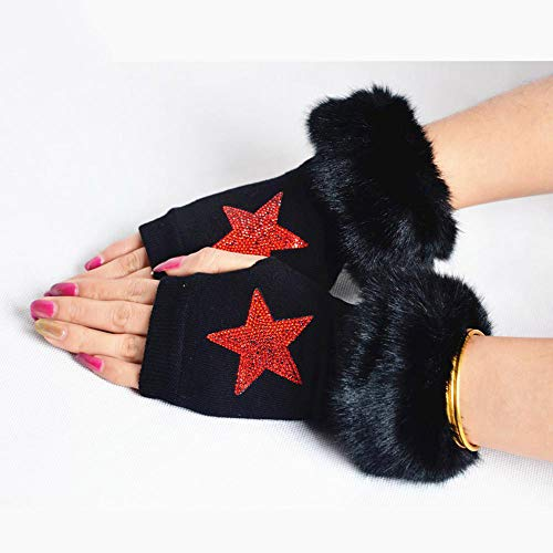 Ludage Qualität Handschuh Herbst und Winter frauenhaar warme gestrickte halb-Finger-Handschuhe