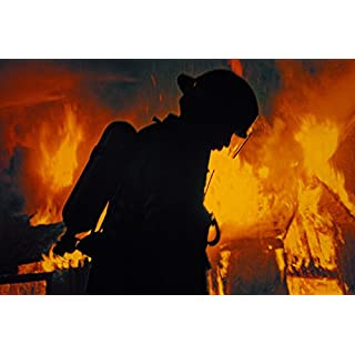 A Firefighter In Airpack Silhouetted By Flames At Night Photo Art Print Poster 46x30 cm inch