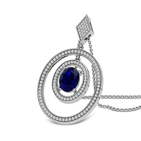 14K Or jaune 0,46CT TW Round-cut-diamond (IJ | SI) et saphir bleu Pendentif