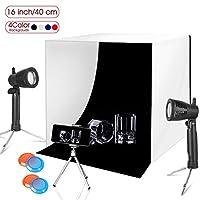مجموعة صندوق ستوديو التصوير الفوتوغرافي بإضاءة 40.64 سم × 40.64 سم من شركة إيمارت لإضاءة الطاولة، حامل حامل ثلاثي القوائم قابل للحمل للهاتف