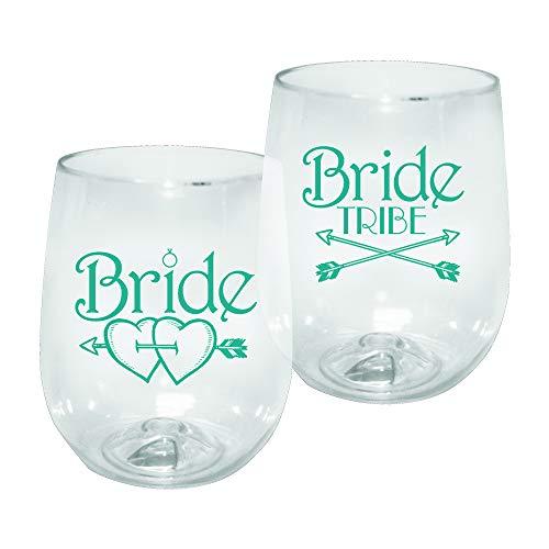 - 12oz Kunststoff ohne Stiel Wein Glas-Braut Tribe Print für Bachelorettes, Set 12-shatterproof Zahnputzbecher, transparent