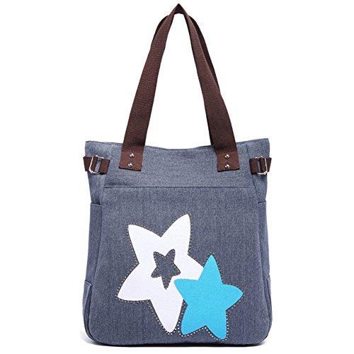 Damen BG Schultertasche 227 Handtasche DRF Blau Shopper Blau Lässige Canvas daxwqY