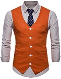 7692238d788d6 Runyue Mens Casual Slim Fit V Neck Sleeveless Jacket Single Breasted Waistcoat  Suit Vest